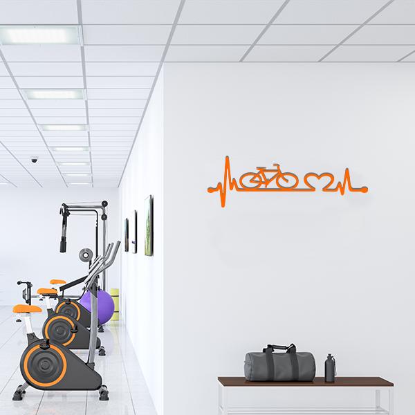 Plaque murale metal ligne vie velo orange salle sport