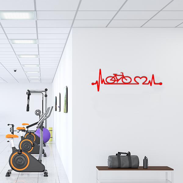 Plaque murale metal ligne vie velo rouge salle sport