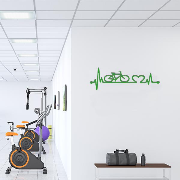 Plaque murale metal ligne vie velo vert salle sport
