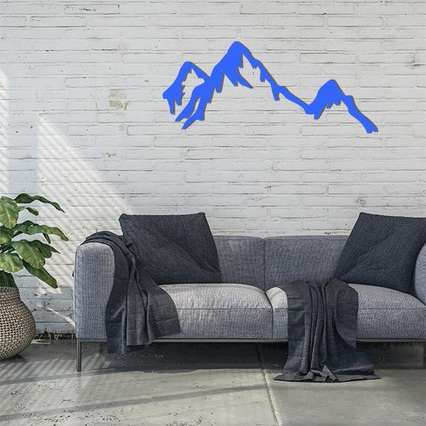 Plaque murale métal montagne bleu salon