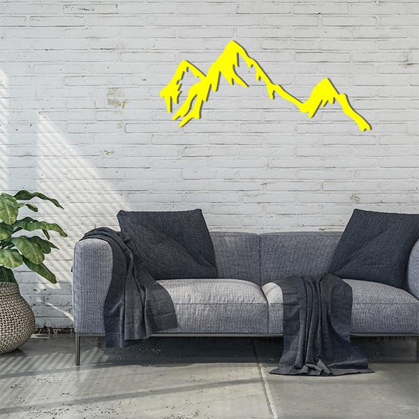 Plaque murale métal montagne jaune salon