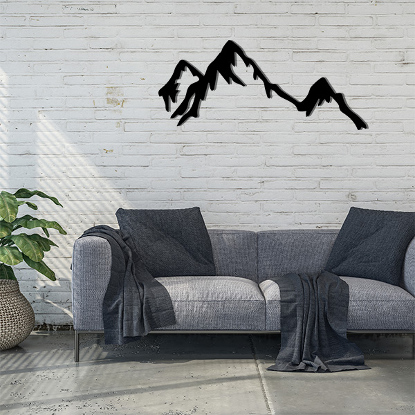 Plaque murale métal montagne noir salon