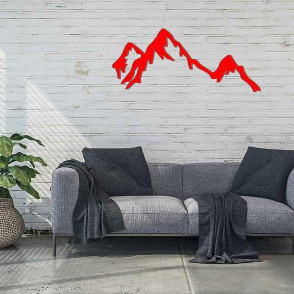 Plaque murale métal montagne rouge salon