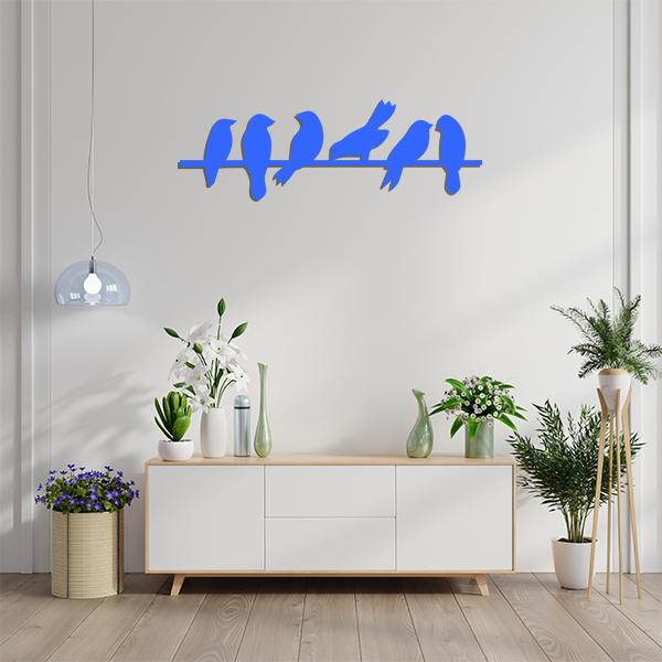 Plaque murale metal oiseaux branches bleu sejour