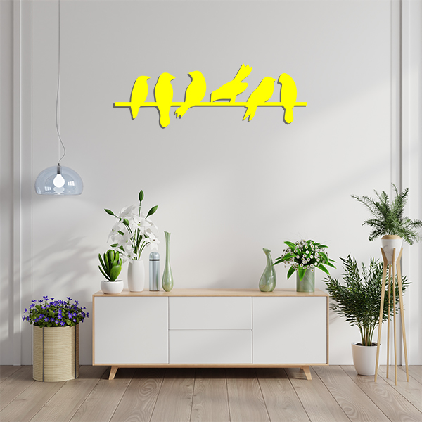 Plaque murale metal oiseaux branches jaune sejour