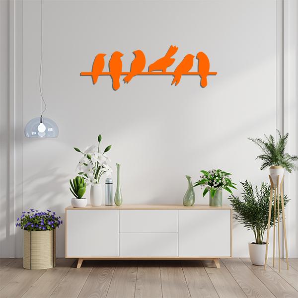 Plaque murale metal oiseaux branches orange sejour