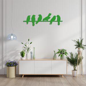Plaque murale metal oiseaux branches vert sejour