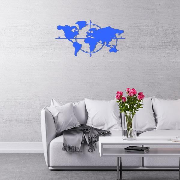 plaque murale metal carte du monde bleu salon