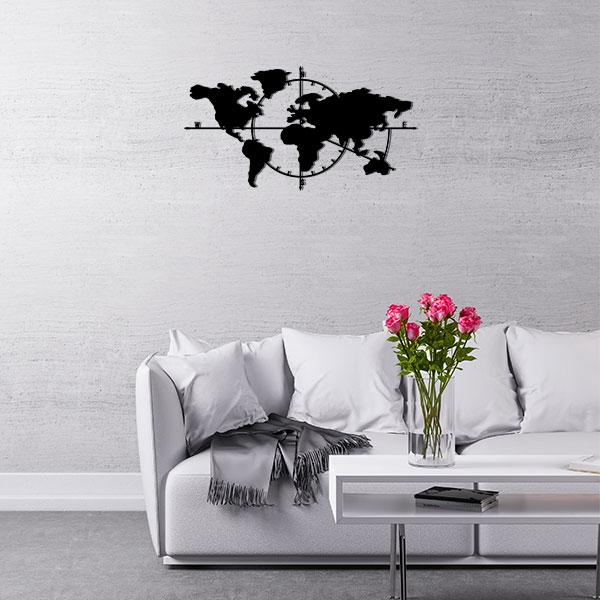 plaque murale metal carte du monde noir salon