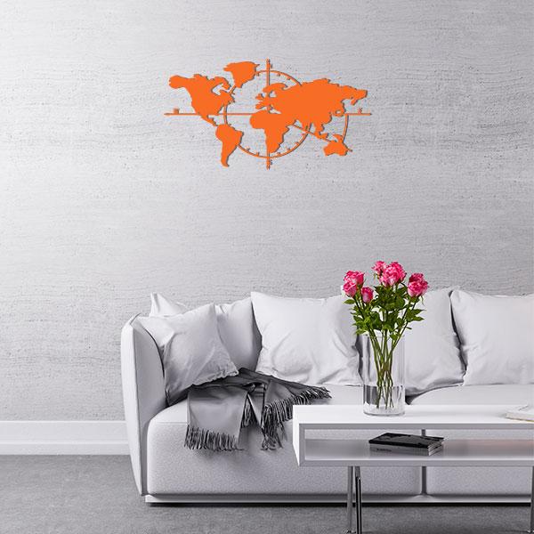 plaque murale metal carte du monde orange salon