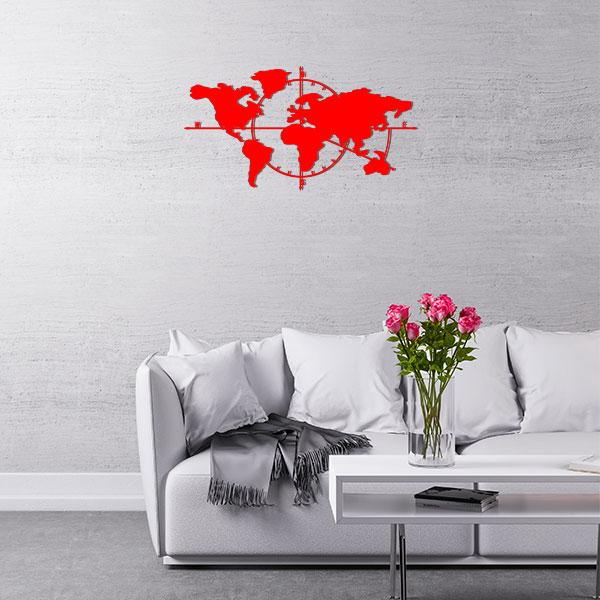 plaque murale metal carte du monde rouge salon