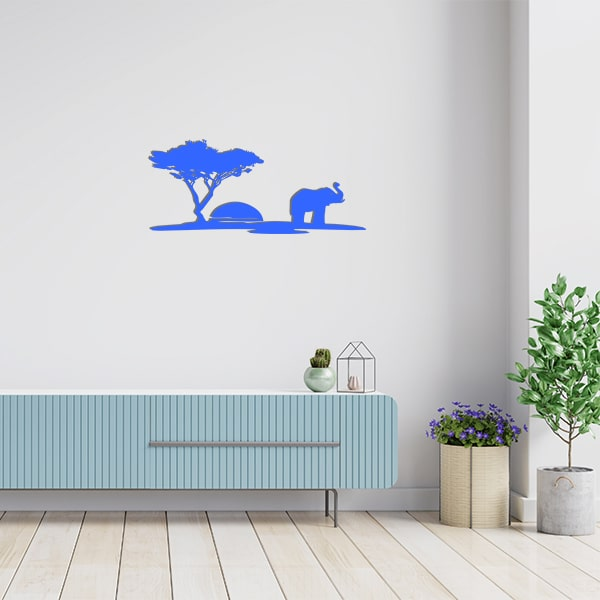 plaque murale metal scene arbre elephant bleu salon