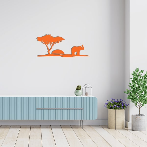 plaque murale metal scene arbre elephant orange salon