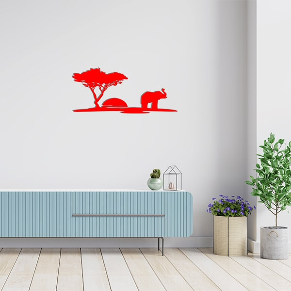 plaque murale metal scene arbre elephant rouge salon