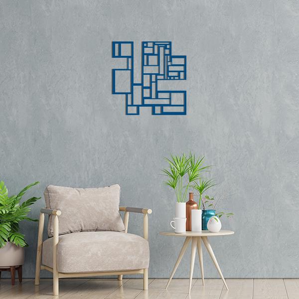 déco géométrique metal tableau carres bleu salon