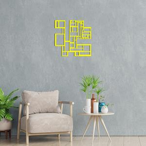 déco géométrique metal tableau carres jaune salon