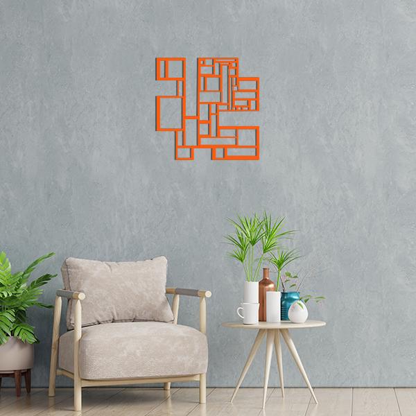 déco géométrique metal tableau carres orange salon