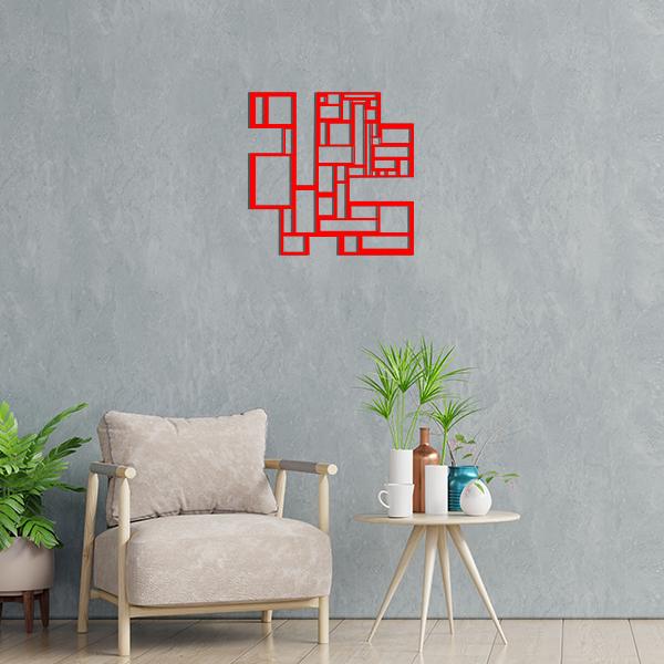 déco géométrique metal tableau carres rouge salon