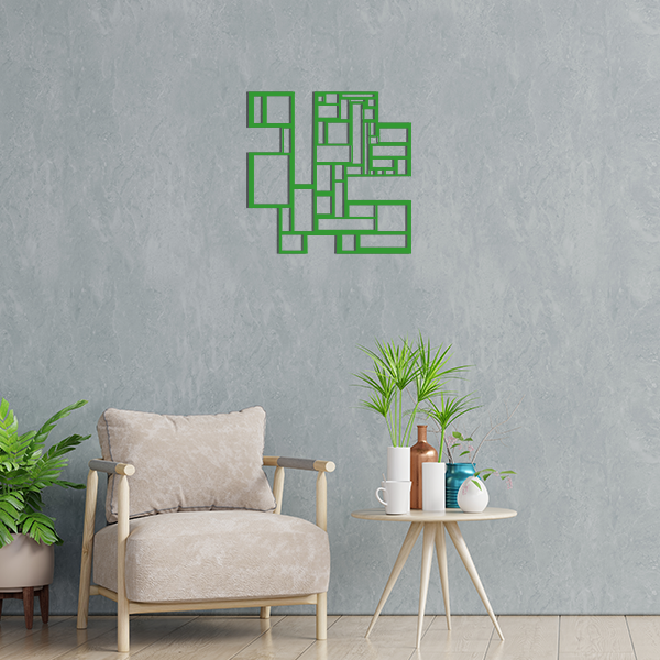 déco géométrique metal tableau carres vert salon