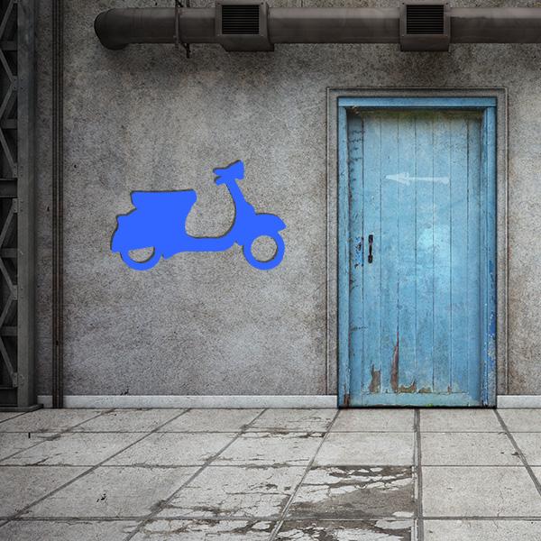Plaque murale metal vespa bleu garage