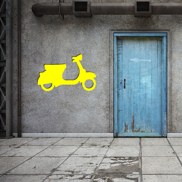 Plaque murale metal vespa jaune garage