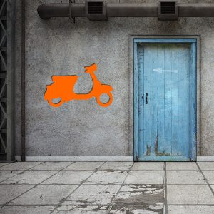 Plaque murale metal vespa orange garage