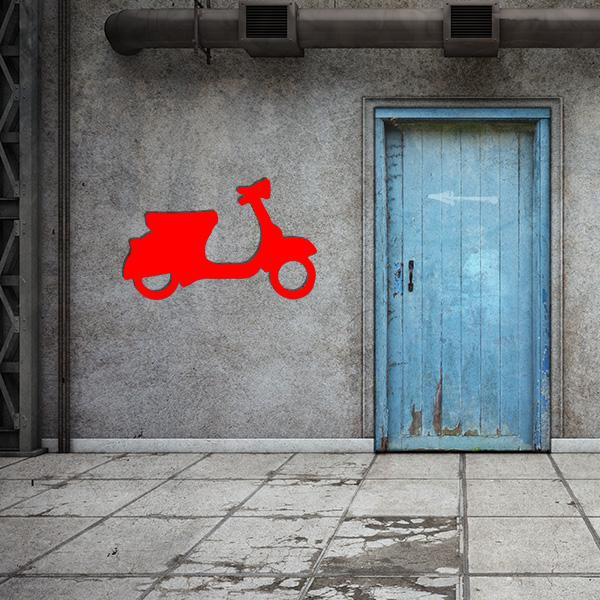 Plaque murale metal vespa rouge garage