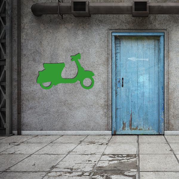Plaque murale metal vespa vert garage