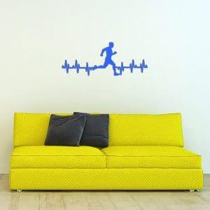 plaque murale metale ligne vie coureur homme bleu canape