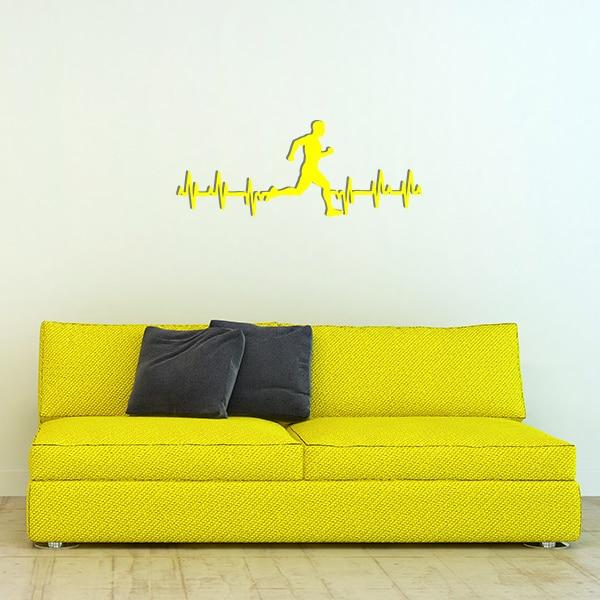plaque murale metale ligne vie coureur homme jaune canape