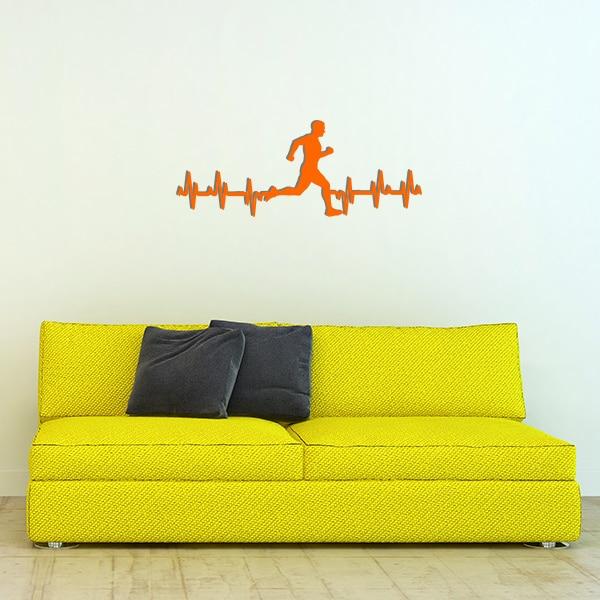plaque murale metale ligne vie coureur homme orange canape