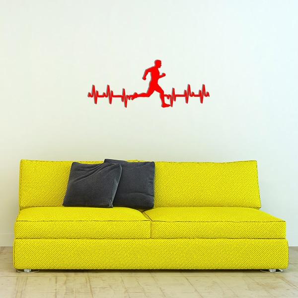 plaque murale metale ligne vie coureur homme rouge canape