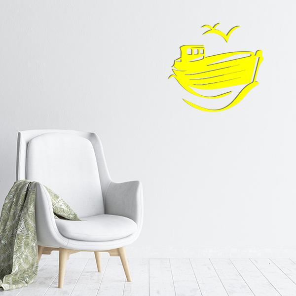 plaques murales metal bateau mouette jaune salon