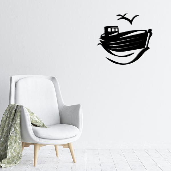 plaques murales metal bateau mouette noir salon
