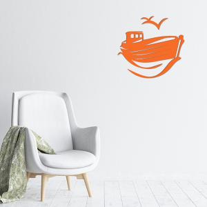 plaques murales metal bateau mouette orange salon