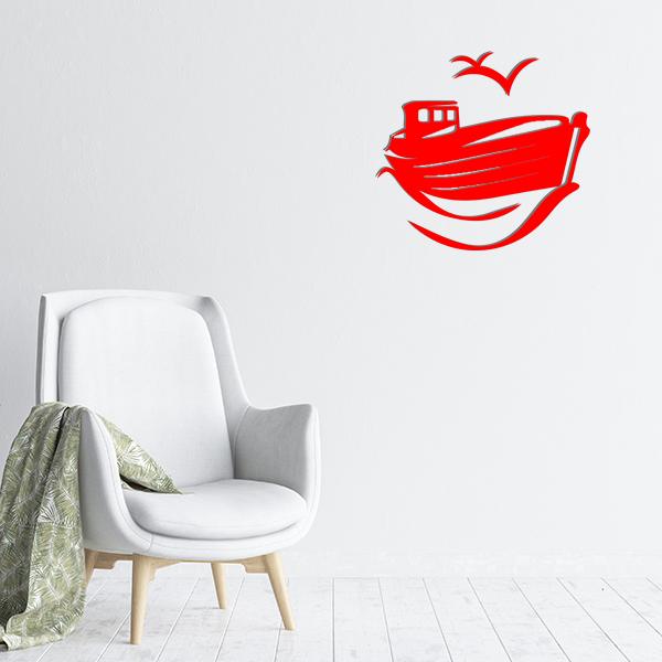plaques murales metal bateau mouette rouge salon