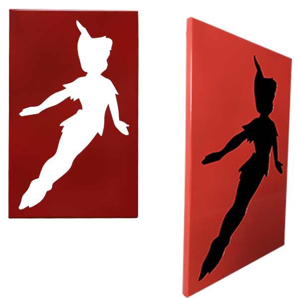 cadre mural en métal ajouré ou avec fond Peter Pan de profil et de face
