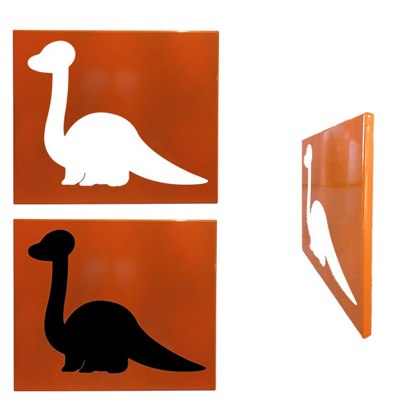 cadre mural metal dinosaure orange face profil
