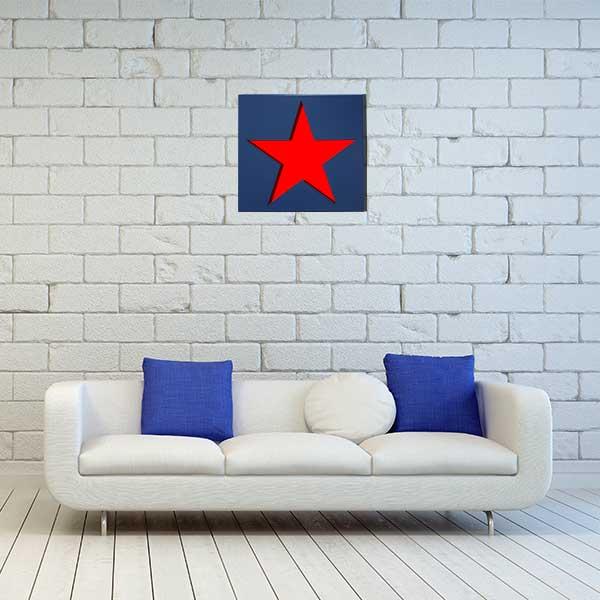 cadre mural metal etoile bleu fond rouge salon