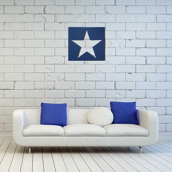 cadre mural metal etoile bleu sans fond salon