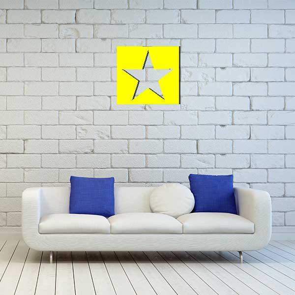 cadre mural metal etoile jaune sans fond salon
