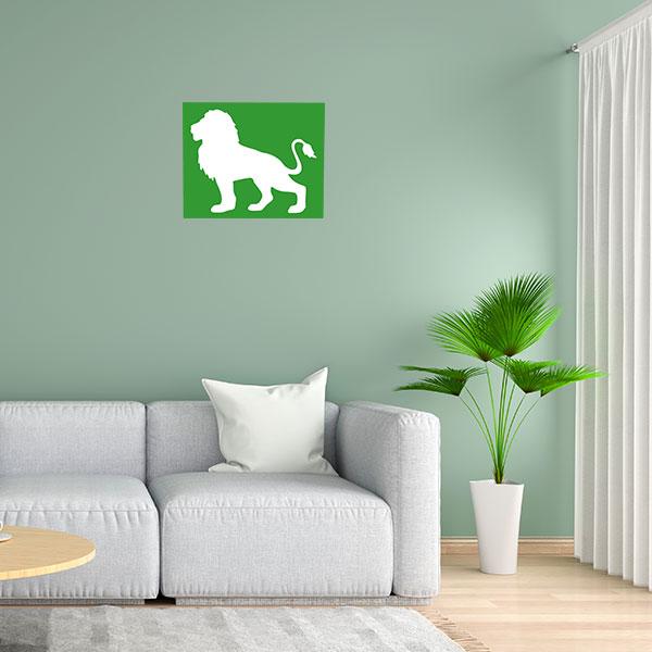 cadre mural metal lion vert fond blanc face salon