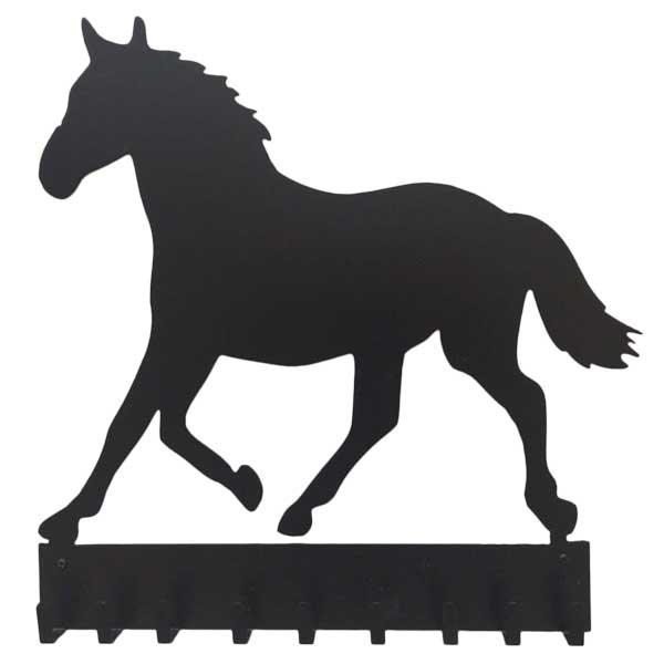 Patere murale metal cheval noir face