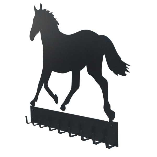 Patere murale metal cheval noir profil