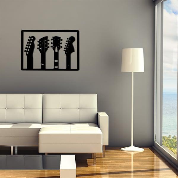 plaque murale en métal de 3 guitares dans salon en voir