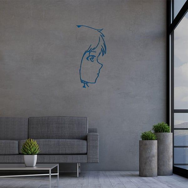 plaque murale metal tete fille bleu salon