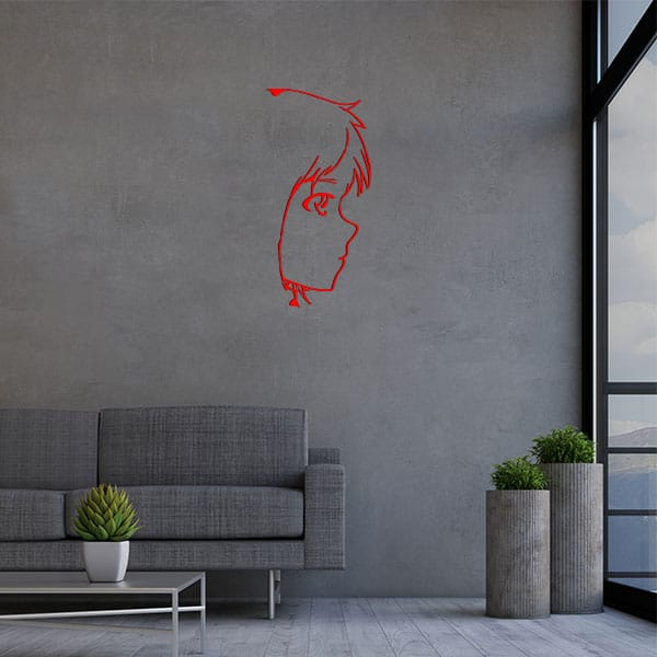 plaque murale metal tete fille rouge salon