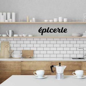 plaque murale épicerie cuisine noir