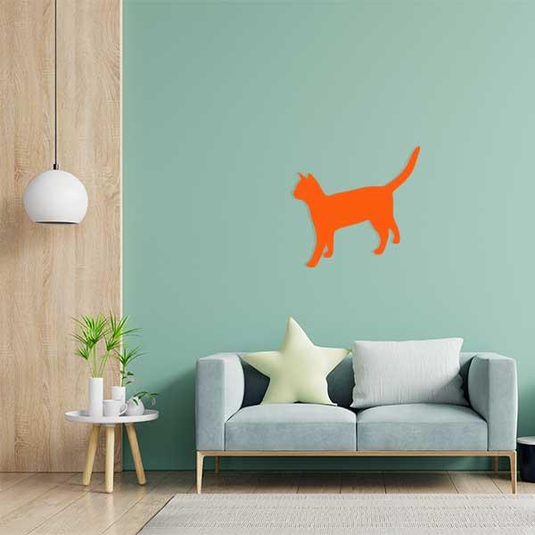 plaque murale metal chat salon orange
