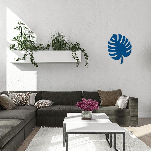 plaque murale metal feuille tropicale bleu salon